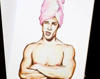 GAY GREETING CARD - blank inside, original artwork. Gay muscleboy.