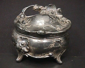 Antique Silver Platted  Metal Jewelry Box as-is