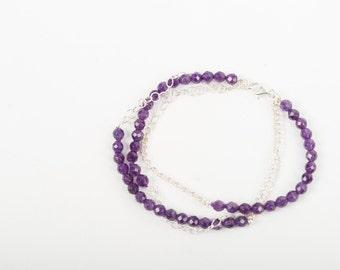 Silver and Amethyst Bracelet, Triple Chain Bracelet, Amethyst Bracelet, February Amethyst Birthstone, Silver Bracelet, Natural Stone
