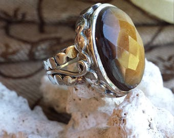 Sterling silver large faceted tiger eye ring , size 7- 8