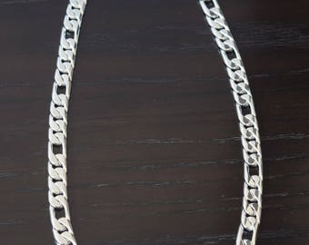 Mens .25 Sterling Silver Heavy three by one chain link Handmade.