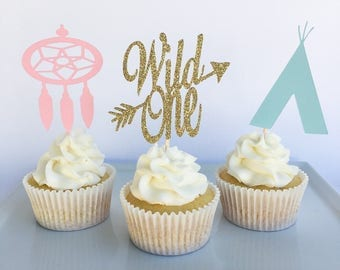 Wild one cupcake toppers | Wild one birthday | Wild one party | Wild one | Boho chic party | Bohemian chic | Boho chic decor |Wild one decor