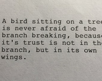 Hand Typed Typewriter Quote - Trust Inspirational Quote
