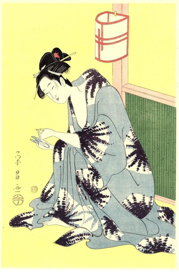 "Japanese Ukiyo-e Woodblock print, Eisho, ""Beauty After Bath"""