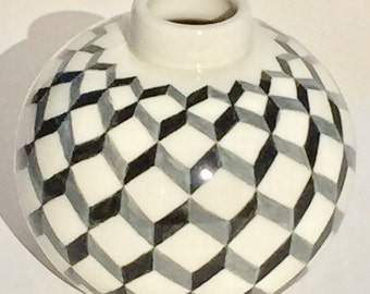 Pottery Vase with Geometric Pattern, Porcelain, Black Gray and White