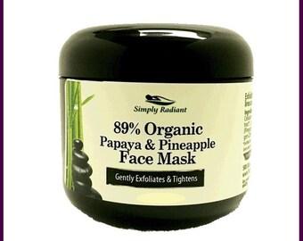 Organic Papaya & Pineapple Gentle Exfoliating Face Mask - Great for Sensitive Skin - VEGAN