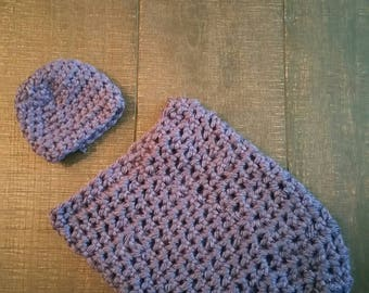 Baby Crochet hat and cacoon set