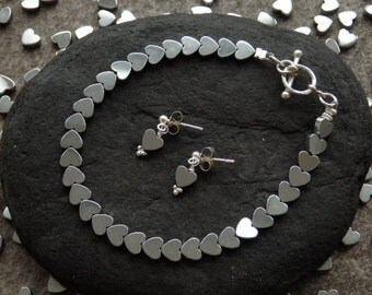 Valentines Jewellery, Valentines Bracelet, Heart Bracelet, Heart Earrings, Heart Jewellery, Hematite Jewellery