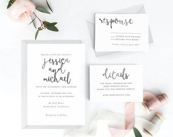 Modern Wedding Invitation Suite, Wedding Invitation Printable, Invitation Set, Wedding Invitation Rustic, PDF Letter or A4(Item code: P110)