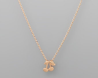 Rose Gold Cherry Charm Necklace