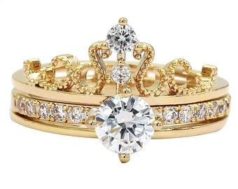 Noble crystal crown ring