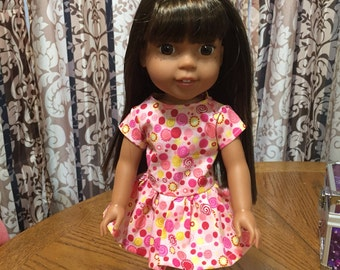"""14 1/2"""" doll dress fits dolls such as wellie wisher"""
