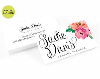 Watercolor Flower Printed Business Cards - business cards,business card design,custom business card,cards,printing,hair,makeup,stylist,pink