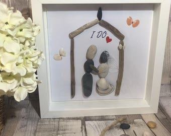 "Handmade Framed Pebble Art ""I Do"", Wedding Pebble Picture, Wedding Gift, Personalised Wedding Picture"