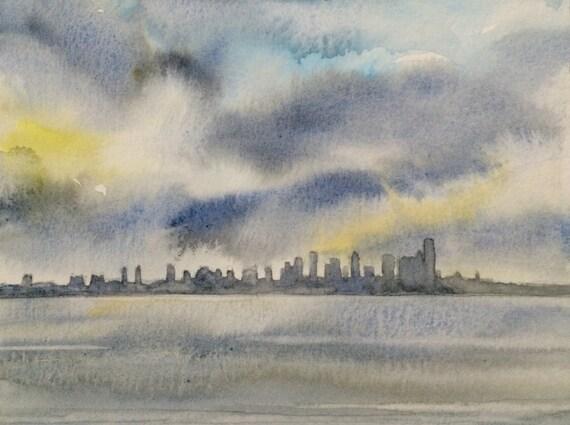 Seattle Skyline, Seattle, rain cloud art, West Seattle, storm clouds, Sky painting, cityscape, Pacific Northwest