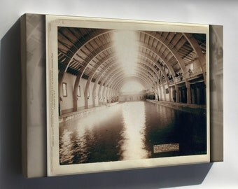 Canvas 16x24; Grabill Hot Springs, Interior View Of Largest Plunge Bath House In Us