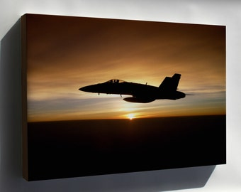 Canvas 16x24; Fa-18C Hornet, At Sunset