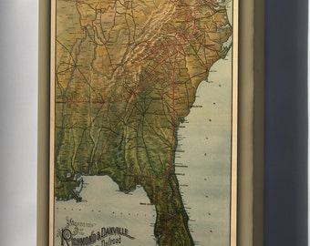 Canvas 16x24; Washington And Old Dominion Railroad Map C1893