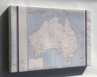 Canvas 16x24; Cia Map Of Australia 1959