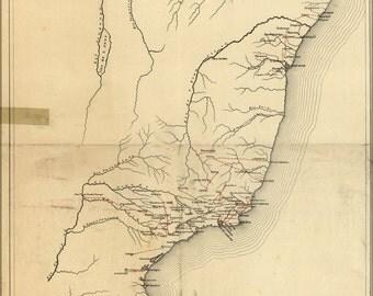 16x24 Poster; Railroad Map Of Brazil 1902