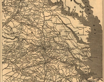 16x24 Poster; Map Of Richmond, Virginia Area 1864