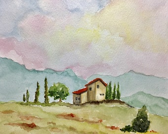 Tuscan Dream, Tuscan landscape, Italian farmhouse, original watercolor, 8x10 inches