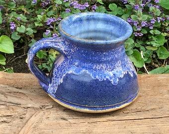 studio pottery mug stoneware, wheel thrown cup, handmade vintage glazed ceramic teacup, signed by artisan