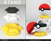 STAND for Pokeball Pokemon Go Ring Box - proposal, engagement ring box, geek ring box, gamer, wedding, geekery, marriage, ring case, staryu
