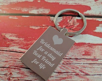 Engraved Keyring - Key Chain - Key Ring - Bridesmaid gift - Change any text - Add your message - Wedding Gift / Present