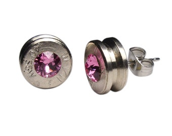Extra Thick 40 Caliber Post Earrings Bullet Jewelry Features Swarovski Crystals (MADE IN USA) (Wholesale Pricing Available)