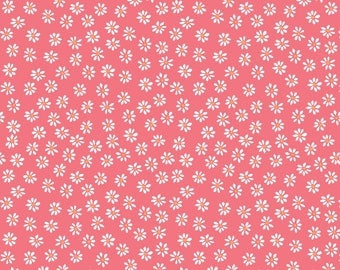 Little Daisies Double Gauze - 100% GOTS Certified Organic Cotton - Organic - Fabric by the Yard - Sustainable  - Floral - Coral - Taupe