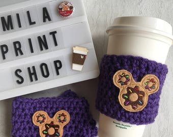 Chocolate Mouse Ears Donut Coffee Cozy