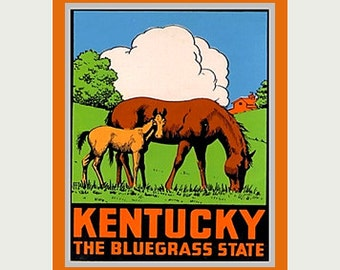 Kentucky Decal - Kentucky Laptop Sticker - Horse Sticker - Mare Decal - Vintage Style Decal - Kentucky Car Decal - Kentucky RV Decal - S158