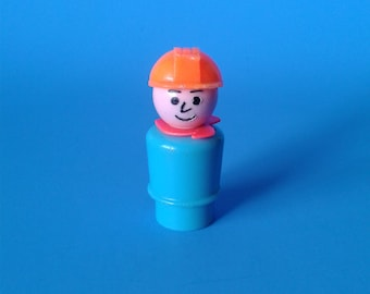 "Fisher Price Little People "" #2352 Construction Worker  "" 1970's"