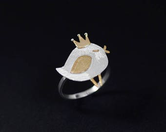 Cute Bird Ring-Sterling Silver Queen Bird Open Ring-Singing Bird-Gold Silver Crown Wing-Bird Lover