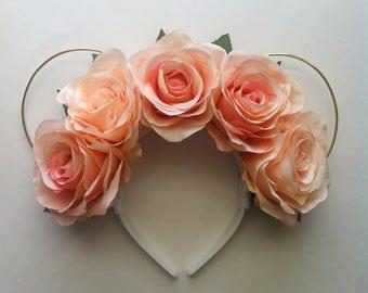 Peach Rose Mickey Ears
