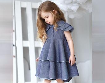 Girls linen dress-Summer linen dress-Organic girls dress-Linen dress-Girls spring dress-Girls birthday dress-Flutter girls dress-Blue dress