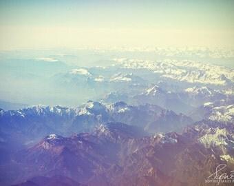 Mountain canvas, landscape photography, fine art photography, white, blue, large art, canvas wall art, minimalist, mountains, 16x24, 24x36