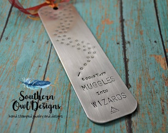 Harry Potter Bookmark, books turn muggles into wizards, deathly hallows bookmark, hand stamped bookmark