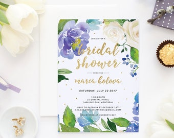 Bridal Shower Invitation, Printable Invitation, Wedding Shower, Bridal Shower Invite, Bridal Shower, Shower Invitation, Floral Bridal Shower