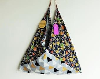 origami bento bag, triangle tote bag, large hobo bag, tote bag, Japanese fabric, reusable shopping bag, gift for her, most popular item