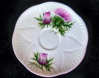 Shelley Bone China Saucer in the Thistle pattern