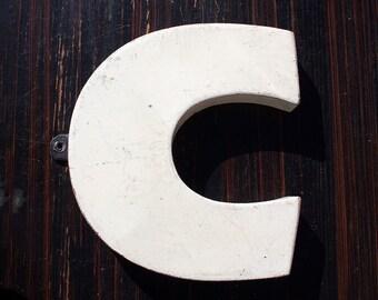 Metal Letters, Vintage Industrial Letters, Letter C, White Metal Letter