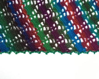 Multi-Coloured Crochet Shawl Triangle Scarf READY TO SHIP