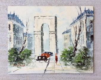Vintage Oil Painting Cityscape Milan Impressionist
