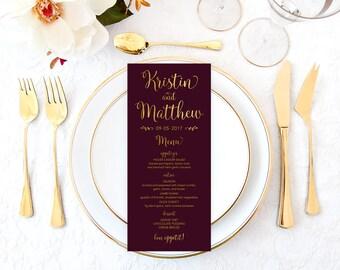 Burgundy Wedding Menu, Burgundy Printable Menu, Gold Wedding Menu, DIY Wedding Menu, Faux Gold Foil Wedding Menu, Bridal Shower Menu BRWS