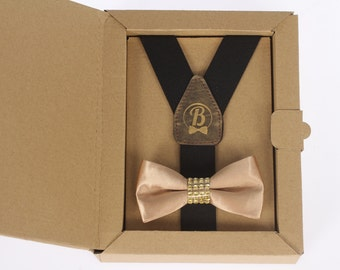 Women's suspenders and bowtie gold glam set