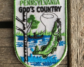 Pennsylvania God's Country Vintage Souvenir Travel Patch from Voyager