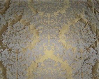 CLARENCE HOUSE KUMAR Silk Damask Fabric 1 Yard Remnant Spanish Gold