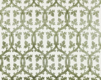 SCALAMANDRE FALK MANOR House Trellis Cut Velvet Fabric 10 Yards Green Tea